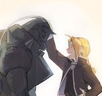 2boys :d ^_^ ahoge alphonse_elric armor bangs beige_background black_jacket black_shirt blonde_hair braid brothers closed_eyes edward_elric esu_(825098897) fullmetal_alchemist hand_on_hip helmet jacket leaning leaning_forward male_focus multiple_boys open_mouth outstretched_arm petting profile shirt siblings simple_background smile upper_body