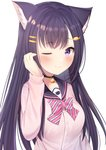 1girl absurdres animal_ears beige_jacket bell bell_collar black_hair blush bow cat_ears character_request collar commentary_request copyright_request eyebrows_visible_through_hair fish_hair_ornament hair_ornament hairclip highres jacket long_hair long_sleeves looking_at_viewer nari_(narikashi) one_eye_closed pink_bow pink_neckwear purple_eyes simple_background smile solo upper_body virtual_youtuber white_background white_bow white_neckwear
