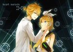 1boy 1girl blonde_hair blue_eyes blush glasses hair_ornament hairclip hand_on_another's_face headphones kagamine_len kagamine_rin kokoro_(vocaloid) long_sleeves looking_at_another neckerchief parted_lips ryuu32 short_hair sleeveless smile tears vocaloid yellow_neckerchief