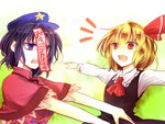 2girls :d ascot blonde_hair hat jiangshi kozuki_kai miyako_yoshika multiple_girls ofuda open_mouth outstretched_arms purple_eyes purple_hair red_eyes rumia shirt short_hair smile spread_arms touhou vest zombie_pose