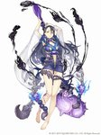 1girl arms_up barefoot black_hair breasts center_opening dress full_body hair_between_eyes hair_ornament ji_no kaguya_hime_(sinoalice) large_breasts leg_tattoo long_hair looking_at_viewer navel official_art parted_lips ribbon scorpion see-through short_dress sinoalice skull solo square_enix staff tattoo white_background wide_sleeves