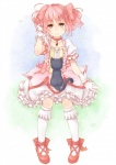 1girl adjusting_hair amy_(madoka_magica) bad_id bow brown_eyes cat choker gloves hair_bow highres jewelry kaname_madoka kneehighs mahou_shoujo_madoka_magica pendant pink_hair puffy_sleeves short_hair short_twintails skirt solo takuan_(takuan0907) twintails
