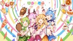 4girls :d absurdres animal_ear_fluff animal_ears animare bag bangs bat_ears bear_ears bear_paws blue_eyes blue_hair blue_skirt blush bow bowtie breasts brown_eyes brown_hair bunny_ears camomi coffee coffee_cup commentary_request copyright_name cup detached_sleeves disposable_cup dog_ears eyebrows_visible_through_hair gloves green_bow green_eyes green_hair green_skirt hair_between_eyes hair_ribbon hand_to_own_mouth hand_up highres hinokuma_ran inaba_haneru_(animare) large_breasts logo long_hair looking_at_viewer medium_breasts medium_hair melon_soda miniskirt multiple_girls name_tag official_art open_mouth parfait paw_gloves paws pink_hair pink_skirt polka_dot polka_dot_bow purple_eyes ribbon short_hair skirt smile souya_ichika spoon suspender_skirt suspenders umori_hinako virtual_youtuber yellow_skirt