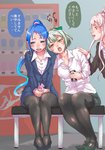 3girls bench blue_eyes blue_hair blush can collared_shirt commentary_request formal green_hair juice_box kantai_collection multiple_girls n-mori office_lady pantyhose pink_hair ponytail samidare_(kantai_collection) shirt sign skirt skirt_suit suit sweat translation_request vending_machine yura_(kantai_collection) yuri yuubari_(kantai_collection)