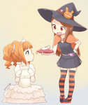 2girls aqua_eyes brown_hair capelet cinderella cinderella_(cosplay) colored_stripes dated dress glass_slipper gloves halloween hat hat_ornament idolmaster jewelry long_hair minase_iori multiple_girls nagian necklace open_mouth orange_hair pillow red_eyes simple_background sitting skirt sparkle standing striped striped_legwear takatsuki_yayoi tears thighhighs tiara twintails white_dress white_gloves witch_hat