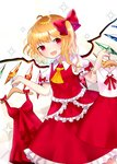 1girl :d adapted_costume ahoge arms_up bangs blonde_hair breasts clothes_hanger cowboy_shot cravat crystal dress dutch_angle eyebrows_visible_through_hair fang flandre_scarlet frilled_skirt frilled_sleeves frilled_vest frills hair_ribbon holding layered_dress layered_skirt looking_at_viewer no_hat no_headwear open_mouth puffy_short_sleeves puffy_sleeves red_eyes red_skirt red_vest ribbon sakipsakip shiny shiny_hair shirt short_hair short_sleeves side_ponytail simple_background skirt sleeveless sleeveless_dress sleeveless_shirt small_breasts smile solo sparkle touhou vest white_background white_shirt wings yellow_neckwear