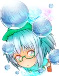 1girl :o aqua_hair backpack bag bespectacled blue_eyes blue_hair boots bubble engineer from_above full_body glasses green-framed_eyewear green_footwear hair_bobbles hair_ornament hat highres kawashiro_nitori looking_at_viewer machi_no_dakashiya open_mouth puffy_short_sleeves puffy_sleeves reflection semi-rimless_eyewear short_sleeves simple_background smile solo toolbox touhou two_side_up under-rim_eyewear water_drop