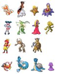 akai_(ugokashitari) centaur child commentary_request ditto electabuzz genderswap goldeen goo_girl gyarados jynx lapras magikarp magmar monster_girl mr._mime multiple_girls no_humans personification pinsir pixel_art pokemon scyther seaking simple_background starmie staryu tagme tauros transparent_background