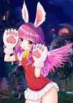 1girl animal_ears arms_up bell blush bunny_ears commentary_request elin_(tera) feathered_wings fuwashii gloves jingle_bell long_hair miniskirt outdoors paw_gloves paws pink_wings purple_eyes purple_hair red_sweater shirt short_sleeves skirt solo sweater sweater_vest tera_online whiskers white_gloves white_shirt white_skirt wings