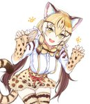 1girl :d animal_ear_fluff animal_ears animal_print blonde_hair bow bowtie brown_hair cat_ears cat_tail claw_pose commentary_request dnsdltkfkd extra_ears eyebrows_visible_through_hair fang geoffroy's_cat_(kemono_friends) gradient_hair hair_between_eyes hair_ribbon kemono_friends korean_commentary leaning_forward long_hair long_sleeves looking_at_viewer low_twintails multicolored_hair open_mouth print_legwear print_neckwear print_shirt print_skirt ribbon shirt simple_background skindentation skirt sleeves_past_wrists smile solo striped_tail suspender_skirt suspenders tail thigh_gap thighhighs twintails very_long_hair white_background white_ribbon yellow_eyes zettai_ryouiki