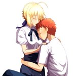1boy 1girl ahoge artoria_pendragon_(all) bangs black_ribbon black_skirt blonde_hair blue_ribbon blunt_bangs cimeri closed_eyes couple emiya_shirou eyebrows_visible_through_hair fate/stay_night fate_(series) hair_between_eyes hair_ribbon hug neck_ribbon orange_hair ribbon saber shirt short_hair short_sleeves sidelocks simple_background skirt white_background white_shirt