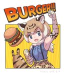 1girl :d alternate_color arizonan_jaguar_(kemono_friends) armpits bare_shoulders blue_eyes blue_neckwear blue_shirt commentary_request dated dot_nose elbow_gloves english eyebrows_visible_through_hair fang food fur_collar gloves hamburger hand_up high-waist_skirt kemono_friends light_brown_hair looking_at_viewer multicolored_hair necktie open_mouth orange_skirt roonhee savanna_striped_giant_slug_(kemono_friends) shirt short_hair signature skirt sleeveless sleeveless_shirt smile solo streaked_hair suspender_skirt suspenders yellow_background