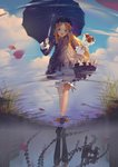 1girl :d abigail_williams_(fate/grand_order) absurdres bangs black_bow black_dress black_footwear black_hat black_umbrella blonde_hair bloomers blue_eyes blue_sky blush bouquet bow bug butterfly cloud cloudy_sky commentary_request day different_reflection dress fate/grand_order fate_(series) flower forehead hair_bow hat highres holding holding_bouquet holding_umbrella insect long_hair long_sleeves looking_at_viewer no_socks object_hug open_mouth orange_bow outdoors parted_bangs pekakiu petals polka_dot polka_dot_bow puddle red_flower red_rose reflection rose round_teeth shoe_soles shoes sky sleeves_past_wrists smile solo stuffed_animal stuffed_toy teddy_bear teeth umbrella underwear upper_teeth very_long_hair walking water white_bloomers