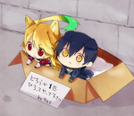 1boy 1girl :3 ahoge box chibi for_adoption gloves in_box in_container jude_mathis milla_maxwell tail tales_of_(series) tales_of_xillia translated yuma_(zero)