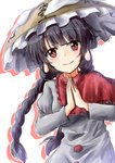 1girl ajirogasa bangs black_hair blush braid breasts brown_headwear capelet commentary_request dress earlobes eyebrows_visible_through_hair grey_dress hat highres juliet_sleeves long_hair long_sleeves looking_at_viewer medium_breasts oshiaki own_hands_together palms_together puffy_sleeves red_capelet red_eyes silhouette simple_background smile snow solo touhou translation_request twin_braids upper_body white_background yatadera_narumi