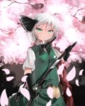 1girl absurdres bowtie cherry_blossoms dress_shirt elbow_gloves fingerless_gloves glint gloves green_eyes hair_ribbon hairband highres hitodama idemitsu katana konpaku_youmu looking_at_viewer petals ribbon sheath shirt short_hair short_sleeves silver_hair solo standing sword touhou tsurime unsheathing vest weapon