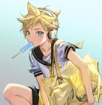 1boy aqua_eyes bag bangs bass_clef blonde_hair commentary eating food food_in_mouth goggles headphones holding holding_bag kagamine_len light_blush looking_at_viewer male_focus naoko_(naonocoto) necktie popsicle popsicle_stick sailor_collar school_uniform shirt short_hair short_ponytail short_sleeves shoulder_bag spiked_hair squatting sweat vocaloid white_shirt yellow_neckwear