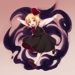 1girl :d ascot bangs black_footwear black_skirt black_vest blonde_hair collared_shirt darkness eyebrows eyebrows_visible_through_hair full_body gradient gradient_background hair_between_eyes hair_ribbon highres long_sleeves open_mouth outstretched_arms red_eyes red_neckwear red_ribbon ribbon rumia shikido_(khf) shirt shoes short_hair skirt skirt_set smile socks solo teeth tongue touhou vest white_footwear white_shirt