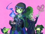 2boys 2girls black_hair blonde_hair breasts brooch candle cape chibi dark_acolyte_(shovel_knight) drill_hair gloves green_eyes green_skin hat hood jewelry medium_breasts missy_(shovel_knight) mona_(shovel_knight) multiple_boys multiple_girls open_mouth pink_background plague_doctor_mask plague_knight potion robe sachy_(sachichy) shovel_knight simple_background sweatdrop triangle_mouth upper_body wavy_mouth