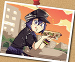 1girl alternate_costume blue_eyes blue_hair cabbie_hat eating food food_on_face full_mouth hat hot_dog ketchup looking_at_viewer pantyhose persona persona_4 persona_4:_dancing_all_night photo_(object) setz shirogane_naoto short_hair skirt solo thumbtack