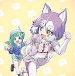 2girls :d animal_ear_fluff animal_ears black_shirt blue_eyes blue_vest borrowed_character commentary dog_(mixed_breed)_(kemono_friends) dog_ears dog_tail elbow_gloves eyebrows_visible_through_hair eyes_visible_through_hair gloves green_hair grey_hair grey_jacket grey_skirt hair_ribbon hat hat_feather heterochromia holding_hands jacket japari_symbol kemono_friends multicolored_hair multiple_girls niiyan open_mouth original outline pantyhose pleated_skirt ponytail ribbon running shirt shorts simple_background skirt smile tail tomoe_(kemono_friends)_(niconico88059799) two-tone_hair vest white_gloves white_hair white_legwear white_outline yellow_background yellow_eyes yellow_ribbon