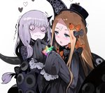 2girls abigail_williams_(fate/grand_order) andrian_gilang bags_under_eyes bangs black_bow black_dress black_hat blonde_hair blue_eyes bow dress fate/grand_order fate_(series) forehead hat heart horn lavinia_whateley_(fate/grand_order) multiple_girls orange_bow pale_skin parted_bangs polka_dot polka_dot_bow saint_quartz sleeves_past_fingers sleeves_past_wrists sweat tentacles wavy_mouth