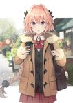 1boy astolfo_(fate) bag black_bow black_jacket blush bow braid brown_coat coat coffee coffee_cup commentary_request cup disposable_cup fang fate/apocrypha fate_(series) fur_coat fur_trim hair_intakes highres hippogriff jacket kusumoto_touka long_braid looking_at_viewer male_focus messenger_bag multicolored_hair open_mouth otoko_no_ko pink_hair purple_eyes red_bow red_skirt shirt shoulder_bag single_braid skirt solo streaked_hair white_shirt