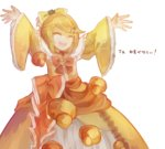 1girl \o/ ^_^ aku_no_musume_(vocaloid) arms_up blonde_hair bow check_translation choker closed_eyes dress evillious_nendaiki frilled_dress frilled_sleeves frills hair_bow hair_ornament hairclip kagamine_rin long_sleeves open_mouth outstretched_arms pastry renu_(ashuorange) riliane_lucifen_d'autriche smile solo translation_request updo vocaloid yellow_dress