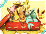 :3 :< :d :p ^_^ ^o^ black_eyes blue_bow bow box brown_eyes closed_eyes closed_mouth diagonal_stripes eevee espeon flareon fuchsia glaceon highres in_box in_container jitome jolteon leafeon looking_at_viewer no_humans open_mouth poke_ball_print pokemon pokemon_(creature) purple_eyes red_eyes scratching sitting sleeping smile solid_oval_eyes striped striped_background sylveon teardrop tongue tongue_out umbreon vaporeon