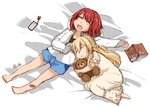2girls :o alternate_costume ark_royal_(kantai_collection) artist_name bandaid_on_leg barefoot blonde_hair blue_shorts blush book braid cellphone closed_eyes commentary dated dress eyebrows_visible_through_hair folded_leg french_braid full_body hair_between_eyes jacket kantai_collection long_hair lying multiple_girls open_mouth phone red_hair round_teeth short_hair short_sleeves shorts sleeping smartphone stuffed_animal stuffed_toy symbol_commentary teddy_bear teeth warspite_(kantai_collection) white_dress white_jacket yamada_rei_(rou) younger