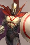 1boy abs body_markings brown_background cape chest commentary_request fate/grand_order fate_(series) gold helmet highres holding holding_shield holding_weapon kobuta leonidas_(fate/grand_order) light_brown_background male_focus muscle red_cape shaded_face shield simple_background solo standing veins weapon