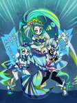 +_+ 3girls blue_eyes blue_hair color_connection crown cure_marine cure_mermaid cure_princess earrings go!_princess_precure hair_color_connection happinesscharge_precure! heartcatch_precure! jewelry kaidou_minami kurumi_erika long_hair magical_girl mini_crown mode_elegant_(go!_princess_precure) multiple_girls ninomae precure seashell_earrings shirayuki_hime sparkling_eyes thighhighs tiara translated zettai_ryouiki