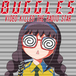 1girl :< @_@ akemi_homura album_cover braid bust cover english face glasses hairband looking_at_viewer mahou_shoujo_madoka_magica microphone necktie open_mouth parody red-framed_glasses shingyouji_tatsuya solo spiral the_buggles triangle_mouth twin_braids video_killed_the_radio_star