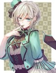 1girl alternate_costume anastasia_(idolmaster) border bustier chocolate cowboy_shot finger_to_mouth green_eyes grey_hair hair_between_eyes hat highres idolmaster idolmaster_cinderella_girls idolmaster_cinderella_girls_starlight_stage looking_at_viewer mini_hat mini_top_hat outside_border parted_lips rum_raisin_(chihiromakita19) short_hair solo top_hat white_border wide_sleeves