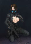 1girl assault_rifle bad_id bad_pixiv_id belt breasts brown_eyes brown_hair christine_yamata cleavage gloves gun hair_over_one_eye large_breasts m4_carbine one_knee resident_evil resident_evil_operation_raccoon_city respirator rifle shell_casing short_hair shoulder_pads solo sweat sweater torn_clothes vasily_(run211) watch weapon