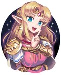 1girl :d bangs bead_necklace beads belt blonde_hair blue_eyes blush bracelet breasts commentary_request dress earrings finger_to_cheek forehead_jewel gashi-gashi gem highres index_finger_raised jewelry long_hair medium_breasts necklace open_mouth parted_bangs pauldrons pointy_ears princess_zelda ruby_(gemstone) short_sleeves shoulder_armor smile solo sparkle super_smash_bros. super_smash_bros._ultimate tabard the_legend_of_zelda the_legend_of_zelda:_a_link_between_worlds triforce upper_body white_dress