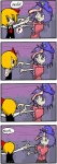 ! 2girls 4koma bad_id black_eyes blonde_hair comic commentary expressive_clothes finnish hair_ribbon handshake long_sleeves mario_(series) miyako_yoshika multiple_girls ofuda outstretched_arms purple_eyes purple_hair ribbon rumia setz short_hair short_sleeves smile star starman_(mario) super_mario_bros. touhou translated wide_sleeves zombie zombie_pose