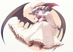 1girl bat_wings closed_mouth crossed_arms frilled_skirt frills full_body fuurin_(omaemona) hat hat_ribbon head_tilt long_skirt looking_at_viewer low_wings mob_cap puffy_sleeves purple_hair red_eyes red_shoes remilia_scarlet ribbon shoes short_sleeves sitting skirt smile solo touhou wings wrist_cuffs