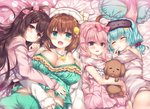 4girls :d animal_ears animal_hat aoki_kaede bangs bare_shoulders bed_sheet blue_hair blush braid breasts brown_hair cat_ears cat_hat cleavage collarbone commentary_request dress eyebrows_visible_through_hair frills fur-trimmed_sleeves fur_trim green_eyes green_shorts hair_between_eyes hair_bobbles hair_ornament hair_ribbon hairclip hat hug jacket large_breasts lilia_chocolanne long_sleeves looking_at_viewer low_twintails lying mask mask_on_head multiple_girls object_hug on_back on_side open_clothes open_jacket open_mouth original pillow pink_dress pink_hair pink_jacket pink_ribbon polka_dot polka_dot_dress purple_dress purple_eyes red_eyes ribbon short_shorts short_twintails shorts sleep_mask sleeves_past_wrists smile star striped_jacket stuffed_animal stuffed_dog stuffed_toy suzune_rena twintails white_hat