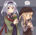 2girls alternate_costume alternate_hairstyle alternate_headwear blush bow braid contemporary cross_eyed drinking flat_cap green_eyes hair_bow hairband hat highres izayoi_sakuya kirisame_marisa long_sleeves looking_at_viewer multiple_girls musical_note ponytail quaver ribbon scarf shirt short_hair side_braid silver_hair single_braid sweater_vest touhou twin_braids upper_body usamata vest