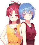 2girls alternate_costume bangs bare_shoulders black_bow blue_eyes blue_hair blush bow bracelet breasts car_keys closed_mouth collarbone commentary_request dress earrings eyebrows_visible_through_hair hair_between_eyes hair_bow hand_on_hip highres holding jewelry long_hair looking_at_viewer mahou_shoujo_madoka_magica miki_sayaka multiple_girls necklace notori_d parted_bangs pearl_necklace ponytail purple_dress purple_hair ring sakura_kyouko sash short_hair simple_background sleeveless sleeveless_dress small_breasts smile upper_body white_background yellow_dress