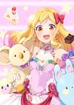 1girl :d absurdres aikatsu!_(series) aikatsu_stars! armpits bare_shoulders blonde_hair blush bow brown_eyes bunny cake chocolate_cake choker commentary_request covered_navel dress earrings eyebrows_visible_through_hair eyeliner flower flower_ornament food fruit gradient_hair hair_bow hair_down hand_up heart heart_choker heart_earrings highres holding holding_stuffed_animal jewelry koala lipstick long_hair looking_at_viewer makeup multicolored_hair nijino_yume open_mouth pink_hair round_teeth sleeveless sleeveless_dress slice_of_cake smile spaghetti_strap star strawberry strawberry_shortcake stuffed_animal stuffed_toy teeth upper_body upper_teeth wara_(warapro)