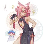 2boys absurdres animal_ears blue_hair blush bow china_dress chinese_clothes cleavage_cutout closed_eyes cosplay crossdressing double_bun dress extra_ears fan fang fate/grand_order fate_(series) fox_ears ghiaccio glasses gloves hair_bow hair_ornament highres iroha741852963 jojo_no_kimyou_na_bouken kemonomimi_mode mask melone multiple_boys open_mouth otoko_no_ko patterned_background pink_hair smile tamamo_(assassin)_(fate) tamamo_(assassin)_(fate)_(cosplay) tamamo_(fate)_(all) v vento_aureo