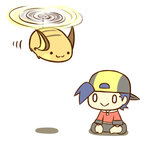 1boy :3 :> cafe_(chuu_no_ouchi) chibi flying gold_(pokemon) hat lowres pokemon pokemon_(game) pokemon_hgss raichu smile tail