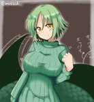 1girl artist_name blush breasts commentary cowboy_shot eyebrows_visible_through_hair green_hair green_sweater highres lamia large_breasts looking_at_viewer madara_(masu_shu) masu_shu monster_girl original scales short_hair simple_background smile spiked_hair sweater tail yellow_eyes
