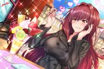 absurdres artist_name bag blue_sky breasts buttons coat day eating fate/grand_order fate_(series) food fruit hand_on_own_face handbag heart heart-shaped_pupils highres large_breasts long_hair napkin nez-kun outdoors parfait purple_hair red_eyes scathach_(fate)_(all) scathach_(fate/grand_order) sky sparkle spoon symbol-shaped_pupils table tablecloth wafer wavy_mouth window