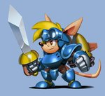 1boy animal_ears armor blonde_hair blue_armor blue_background brown_eyes chibi clenched_hands commentary english_commentary from_side full_armor full_body furry gauntlets goggles goggles_on_head greaves headgear holding holding_weapon male_focus pauldrons rocket_knight_adventures simon_stafsnes_andersen snout solo sparkster sword tail thrusters weapon whiskers
