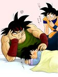 3boys anger_vein annoyed bandana bardock black_eyes black_hair blanket chin_rest closed_eyes dougi dragon_ball dragon_ball_z elbow_rest expressionless family father_and_son finger_to_mouth fingernails frown grandfather_and_grandson green_shirt hand_on_own_face looking_at_another lying male_focus masa_(p-piyo) multiple_boys muscle nervous open_mouth pectorals pink_background red_bandana scar shirt short_hair simple_background sleeping son_gokuu son_goten spiked_hair sweatdrop time_paradox translation_request upper_body wristband