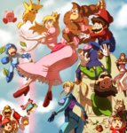 3girls 6+boys :o animal animal_ears ape arm_cannon ass baseball_cap battle blonde_hair blue_eyes bodysuit brown_hair butt_crack capcom clenched_hands crossover crown donkey_kong donkey_kong_(series) doubutsu_no_mori dress earrings elbow_gloves eyebrows eyebrows_visible_through_hair facial_hair flower_pot fox_ears fox_mccloud frilled_dress frills fur gloves hat heart helmet high_heels highres hip_attack holding holding_weapon jewelry king_dedede kirby kirby_(series) leaf long_hair looking_at_another looking_back looking_up luigi mario mario_(series) metroid multiple_boys multiple_girls mustache necktie ness nintendo onichan-xd open_mouth overalls pants pikachu pink_dress pointy_ears pokemon_(creature) ponytail princess_peach princess_zelda rockman rockman_(character) rockman_(classic) samus_aran shirt short_sleeves skin_tight star_fox striped striped_shirt super_mario_bros. super_smash_bros. t-shirt tail the_legend_of_zelda tiara upside-down vest villager_(doubutsu_no_mori) wario weapon zero_suit
