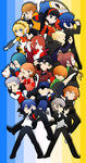6+boys 6+girls aegis_(persona) amada_ken amagi_yukiko android aragaki_shinjirou baseball_cap beanie bike_shorts black_eyes black_hair blonde_hair blue_eyes blue_hair brown_eyes brown_hair closed_eyes dog grey_hair hair_over_one_eye hairband hanamura_yousuke hat headphones iori_junpei jacket kirijou_mitsuru koromaru kujikawa_rise kuma_(persona_4) multiple_boys multiple_girls nanaya_(daaijianglin) narukami_yuu open_clothes open_jacket pantyhose persona persona_3 persona_4 persona_q red_eyes red_hair sanada_akihiko satonaka_chie school_uniform shirogane_naoto skirt takeba_yukari tatsumi_kanji twintails yamagishi_fuuka yuuki_makoto